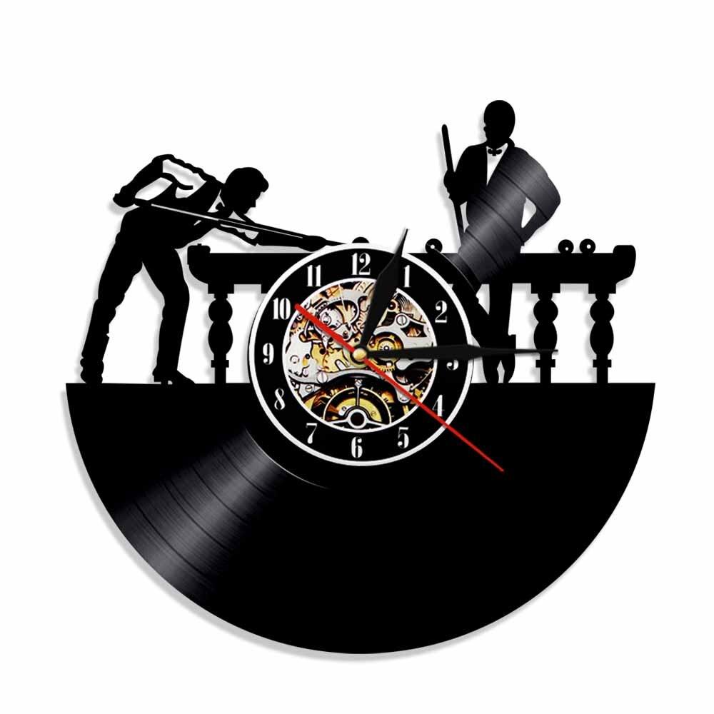 Billar jugador pared reloj único Pool billares Snooker habitación decoración vinilo registro...