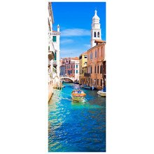 77*200cm 이탈리아 스타일 포스터 베니스 Canals 풍경 3d 문 벽화 비닐 벽 스티커 홈 장식 도시보기 벽지