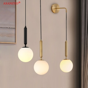 Nordic bedroom lamp Glass ball pendant lights Black Brass metal bedside lamp simple bar dining room small wall lamps