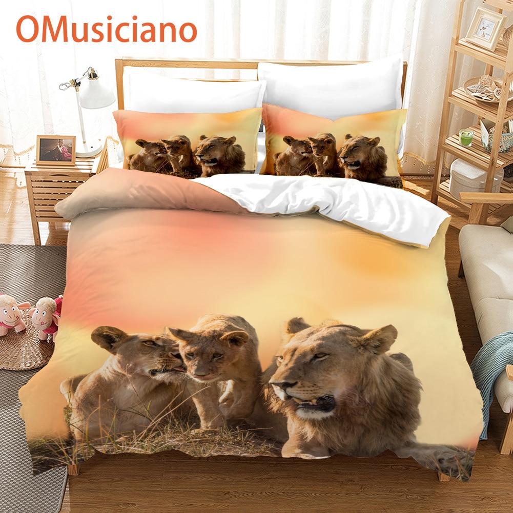 Комплекты постельного белья с 3D принтом льва роскошный комплект постельного белья с львами Королевский размер высокое качество пантера Ле...