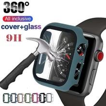 9H Glas fall full Screen protector für apple watch band fall 44mm 40mm abdeckung für iwatch serie 5 4 3 2 1 schutzhülle 38 mm