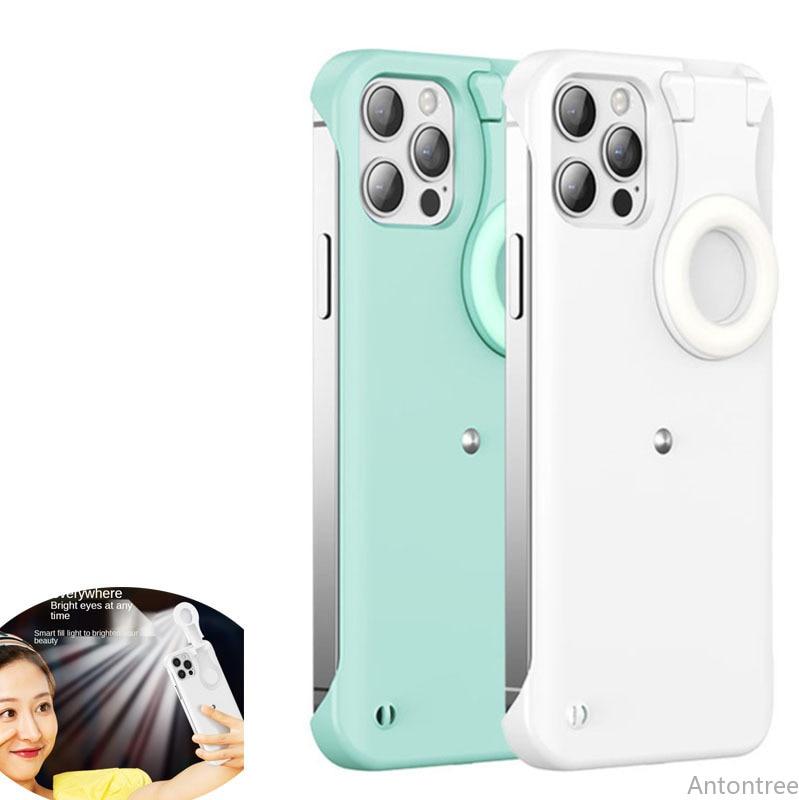 Enhance Light Selfie Case For iPhone 12 11 Pro Max 12Pro X Xs Max Luminous Circle Ring LED Light Glow Cover Taking Photo Capa