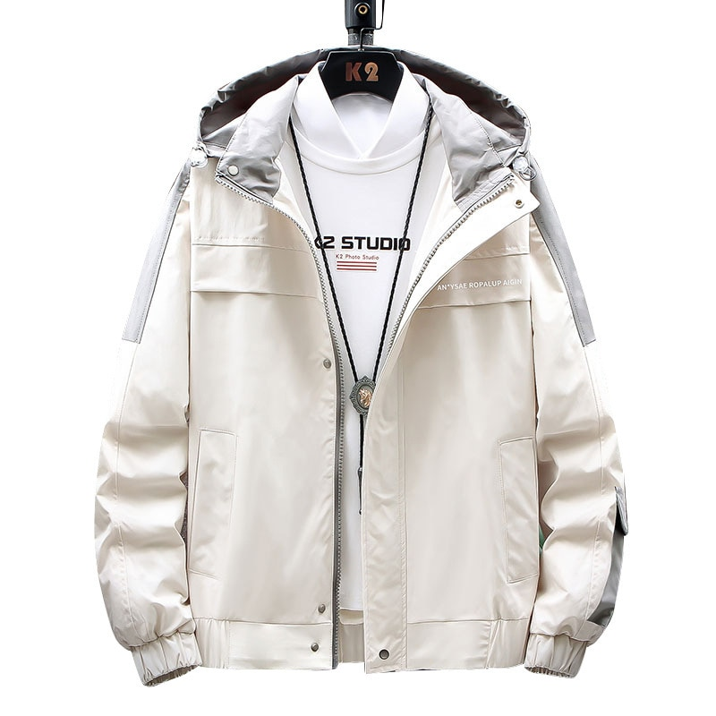 Spring  Autumn Men's Hooded Jacket Slender Solid Color Stitching and Long Sleeve Zipper Decoration Jacket Men's ClothingTops