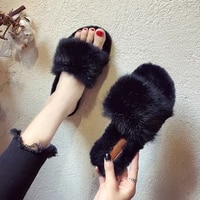 2020 winter home shoes women house slippers warm faux fur ladies soft plush furry female open toe slides fashion shoes mtx72