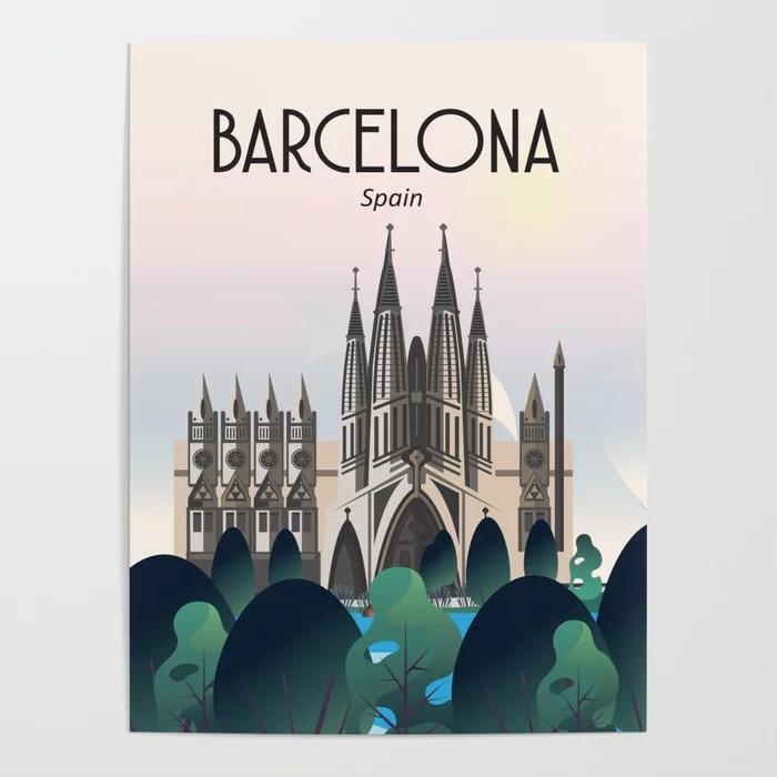 HD imprimir cartel de Iglesia Barcelona lienzo de paisaje pintura moderna casa...