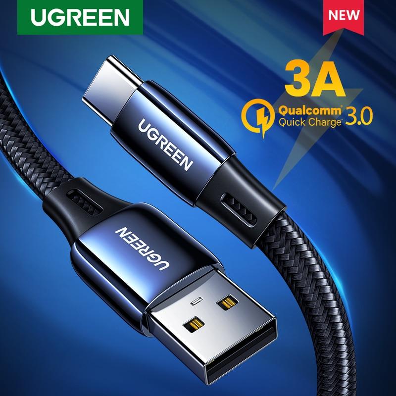 Ugreen usb tipo c cabo liga de zinco usb a usb c rápido carregador cabo para samsung galaxy s20 s10 note9 3a carga rápida USB-C cabo