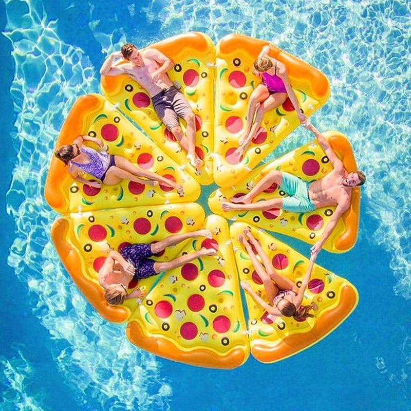 Flotador gigante inflable para piscina de Pizza, colchón de mar, juguete de fiesta para niños y adultos