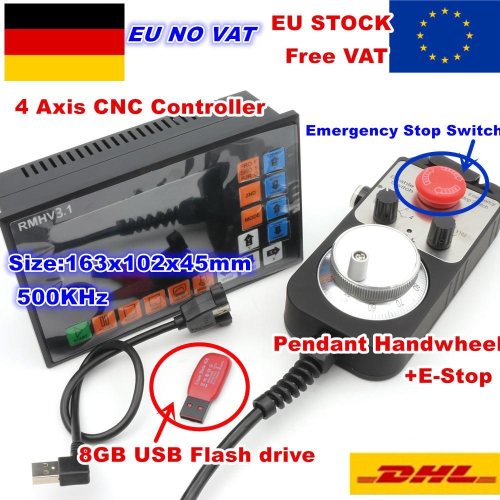 [مخزون الاتحاد الأوروبي] وحدة تحكم PLC ذات 4 محاور ، 500 كيلو هرتز ، بدون اتصال بالإنترنت وعجلة يدوية 100 نبضة MPG لجهاز التوجيه CNC ، آلة النقش