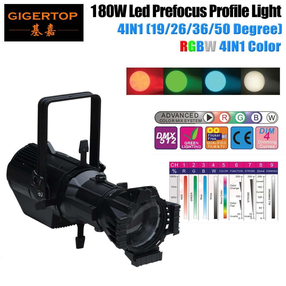 Freeshipping 180W Led Prefocus perfil RGBW 4IN1 Led elipsoidal 19/26/36/50 grados lente opcional foco de luz Gobo para boda