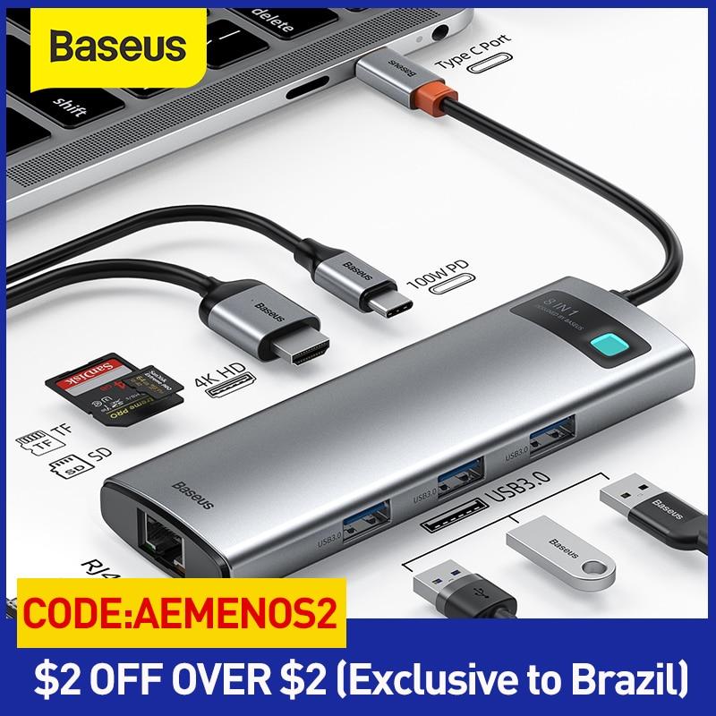 Baseus USB HUB نوع C إلى متعددة USB 3.0 4K HD PD 100W ميناء USB HUB محول ل ماك بوك برو باد محمول USB الخائن USB 3.1 C محور