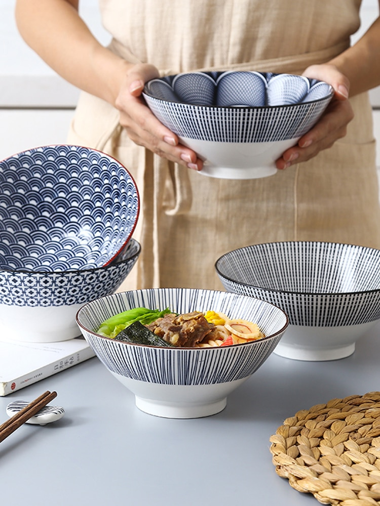 Cuenco de cerámica Ramen Para el hogar, cuenco para Fideos instantáneos con forma de gorro de lluvia, gran oferta especial, vajilla de tazón de sopa del norte de Europa