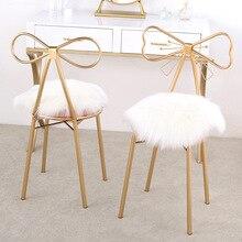 Мягкая длинная плюшевая круглая подушка для сиденья для макияжа, стул для бара, пушистый искусственный мех, подушка для сидения, коврик, лохматый Современный домашний декор