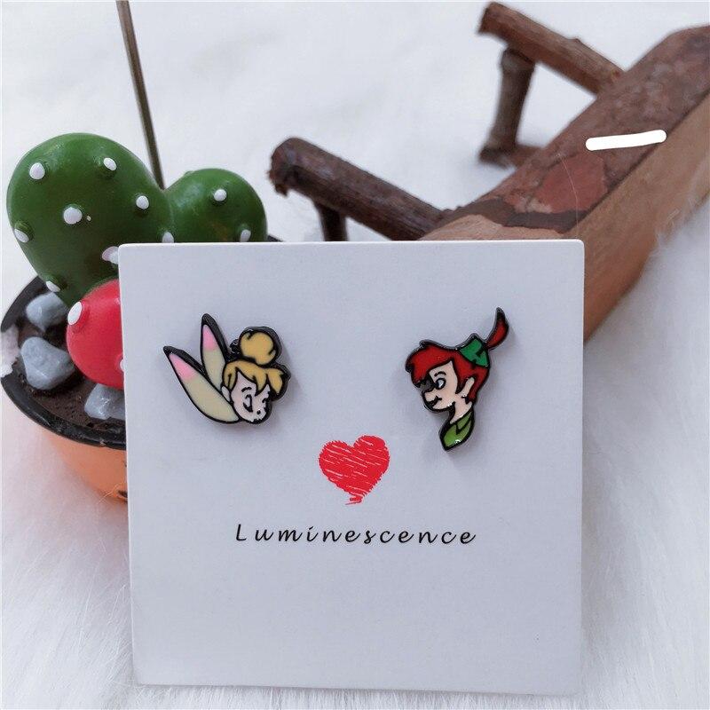 EUPNHY 1Pair Peter Pan Wendy Tinker Bell Earrings Asymmetrical Cute Cartoon Stud Earrings for Women Girls