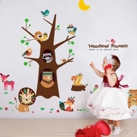 indian animals tree self adhesive wall stickers for kids room nursery baby room home decor wall decals art mural