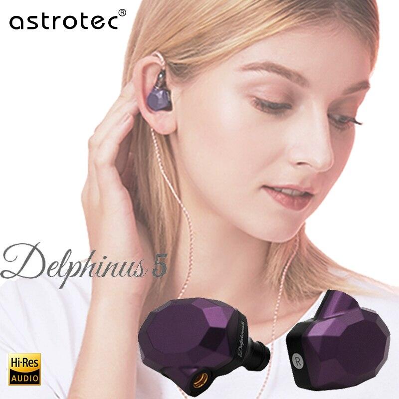 5ab em Monitores de Ouvido Astrotec Delphinus Fones Ouvido Profissional Alta Fidelidade Mmcx Fone Redução Ruído Metal Substituível Cabo