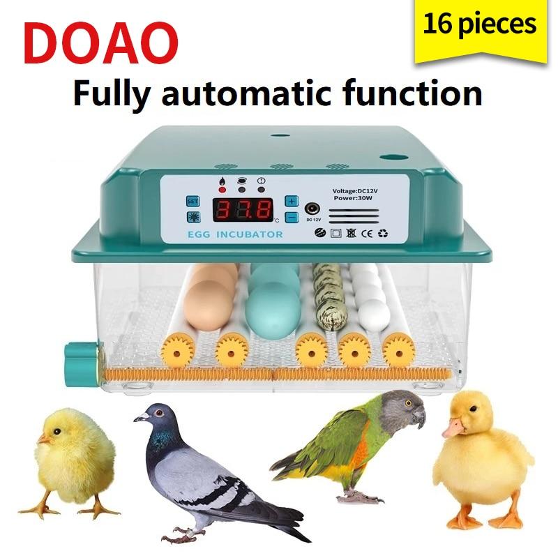 DOAO 16 حاضنة البيض حاضنة أوتوماتيكية جهاز تفريخ بيض الدجاج حاضنة البيض حاضنة أوتوماتيكية بالكامل مزرعة الفرخ السمان هاتشر