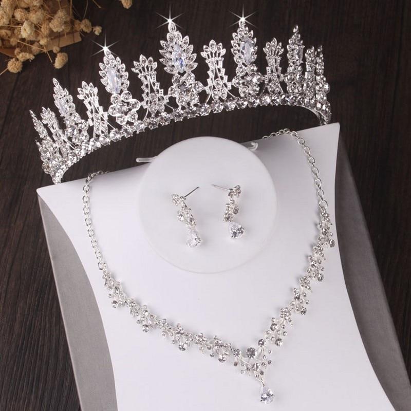 Barroco luxo floral cristal conjuntos de jóias de noiva strass tiara coroa colar brincos conjunto casamento contas africanas conjunto de jóias