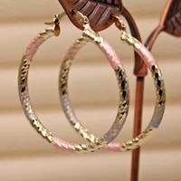 rlopay fashion hoop earrings for women gold pink color round earrings luxury jewelry for wedding anniversary gift acessories