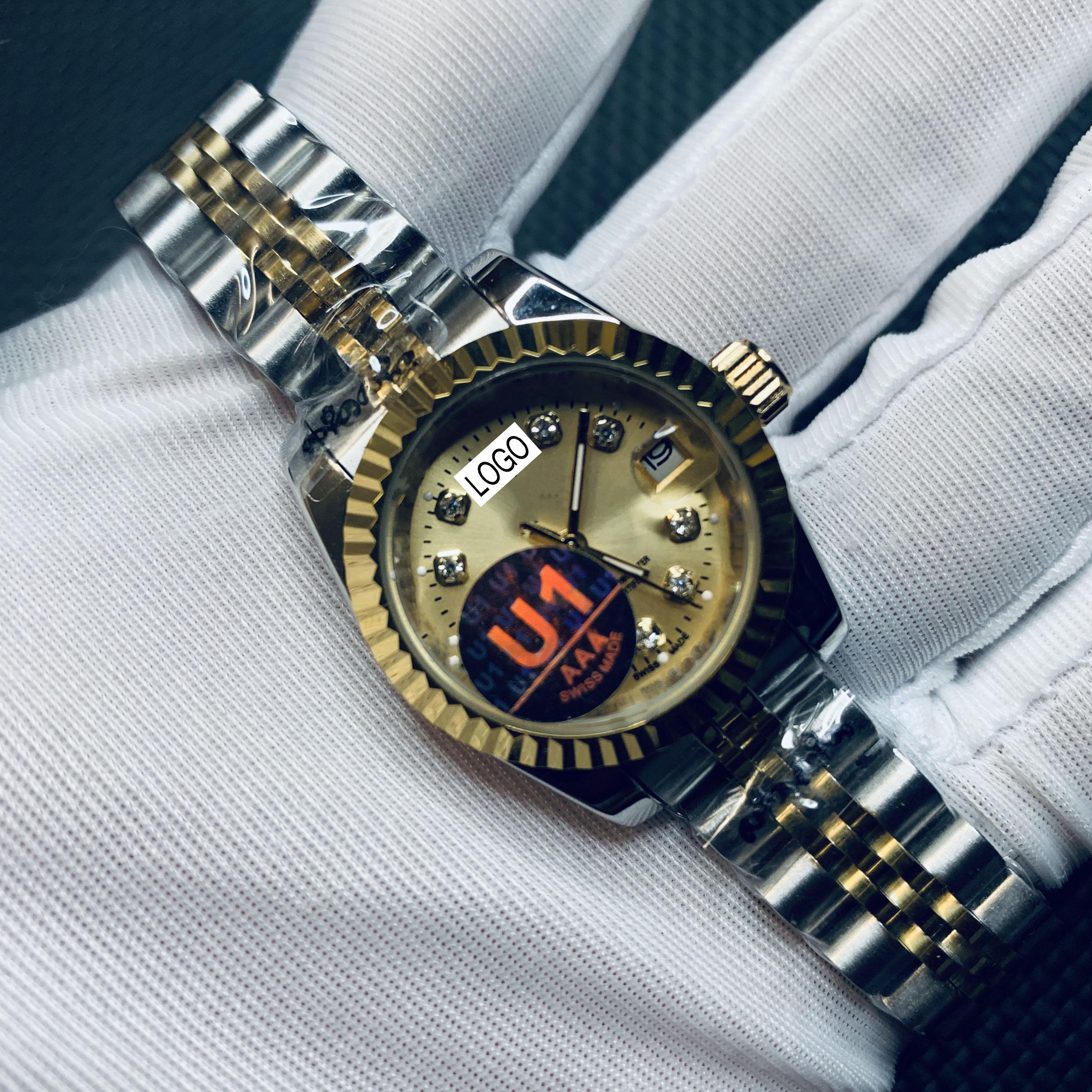 Hot sale ladies watch 18K gold dial ladies watch 28mm automatic mechanical sweep movement luxury brand ladies watch date enlarge