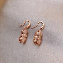 YAOLOGE Pearl Rhinestone złote kolczyki orzechowe Trendy krótki styl roślin małe spadek kolczyki dla kobiet 2020 biżuteria Brincos