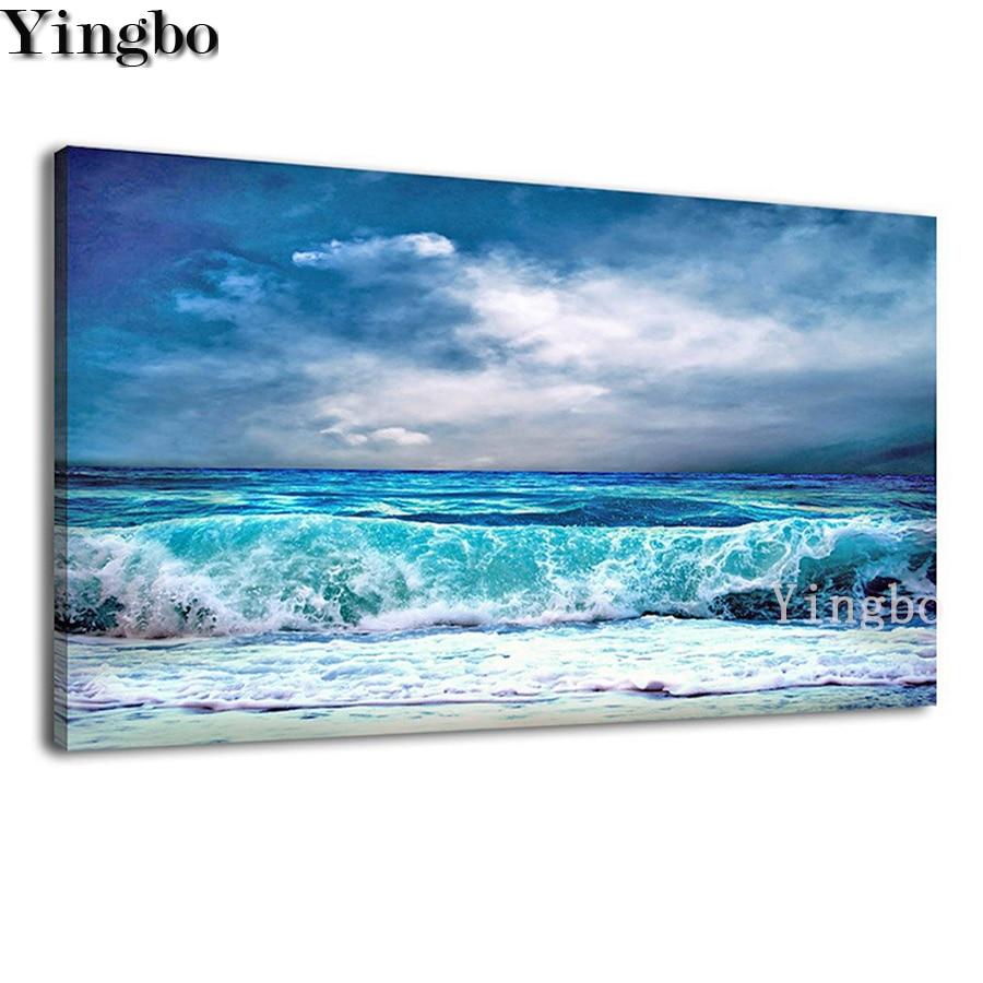 Cuadro de olas nwe cuadrado completo mosaico redondo diamante bordado océano Aqua clima de tormenta cielo azul 5D DIY diamante pintura regalo