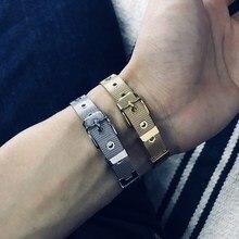Bracelets For Men Women Stainless Steel Vintage Watch Band Bracelet Gold Color Simple Adjustable New