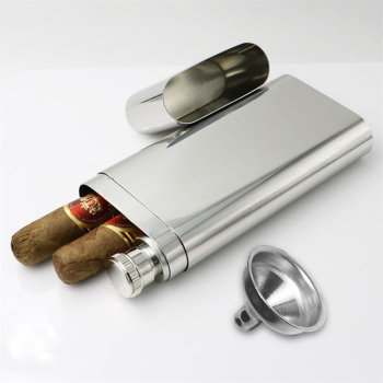 Stainless Steel Wine and Cigar Case with Funnel Cigarette Box Hip Flask Liquor Tube Outdoor Bottle Beer Whiskey Drinkware