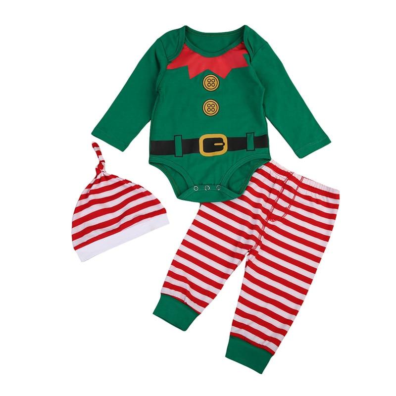 Christmas Baby Boy Girls Clothing Set Newborn Infant Soft Cotton Romper Pants Hat Striped Santa Fall 3PCS Outfits XMAS Sleepwear