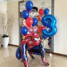 1Set 3D Big Spiderman Super Hero Foil Balloon The Avengers Number Birthday Party Decoration Kids Iro