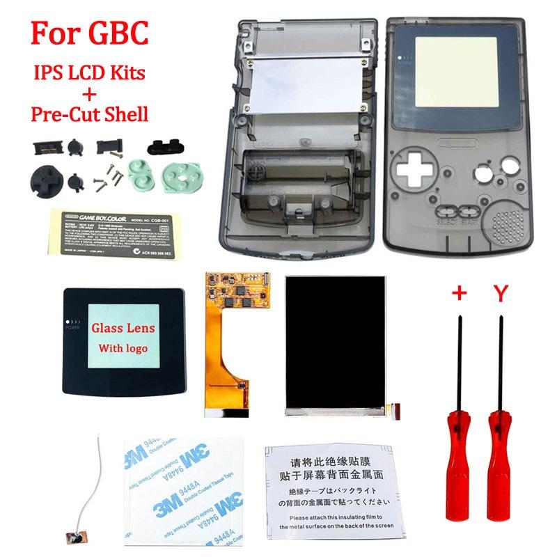IPS V2 LCD أطقم مع قذيفة ل GBA SP IPS LCD الخلفية الشاشة مع قبل قطع قذيفة ل GBASP وحدة التحكم الإسكان مع أزرار