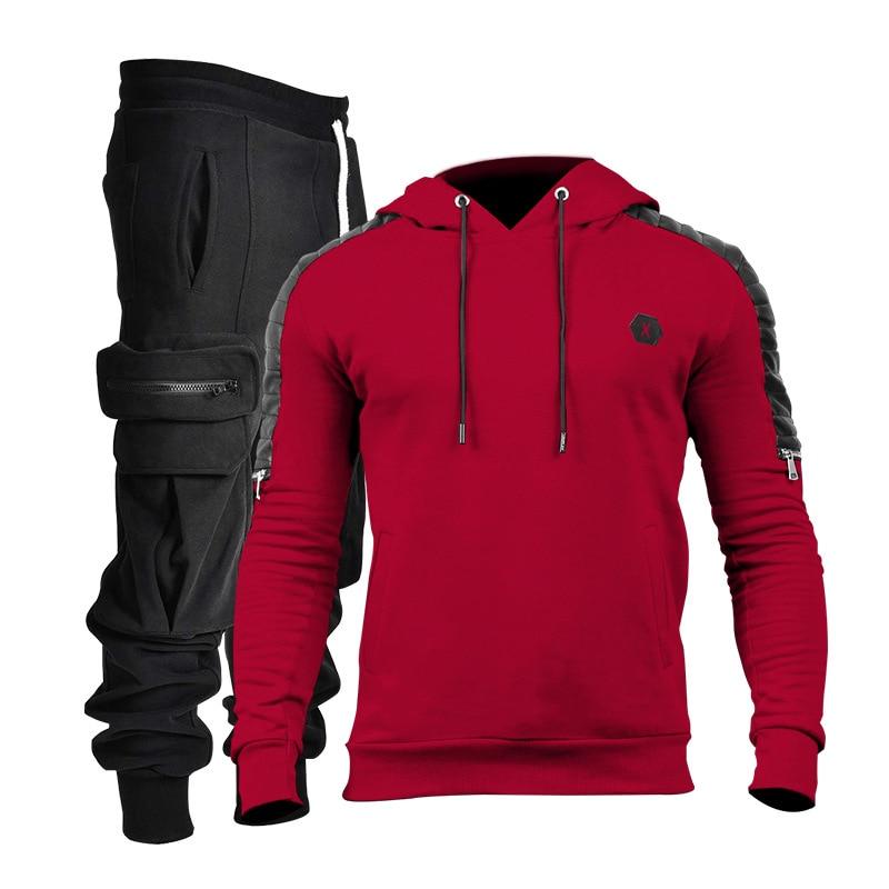الخريف الشتاء الرجال مجموعات مقنعين هوديس غير رسمية sweatpants الرجال الربط الصوف موضة الركض رجل رياضية الرجال بدلة رياضية