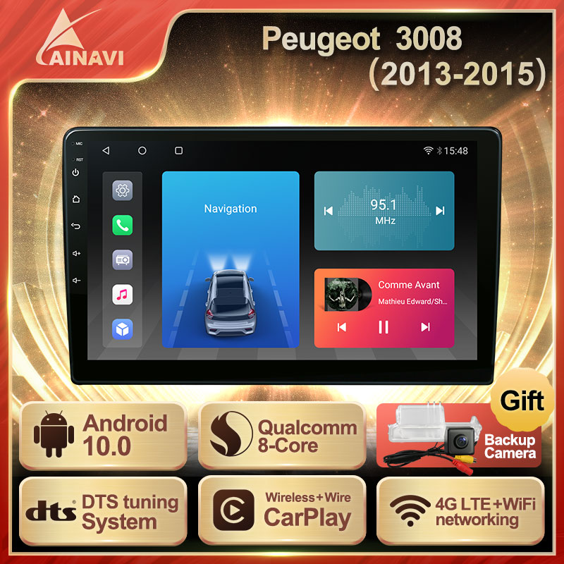 Car Radio Android 10.0 QLED Screen For Peugeot 3008 2013-2015 Auto Stereo Multimedia Video Player Navigation GPS Carplay No 2din