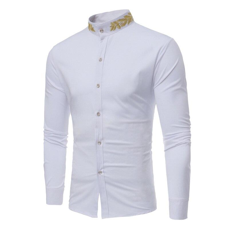 Мужская рубашка, рубашка с длинным рукавом, мужская рубашка с длинным рукавом и стоячим воротником, Весенняя Мужская одежда, Мужское пальто