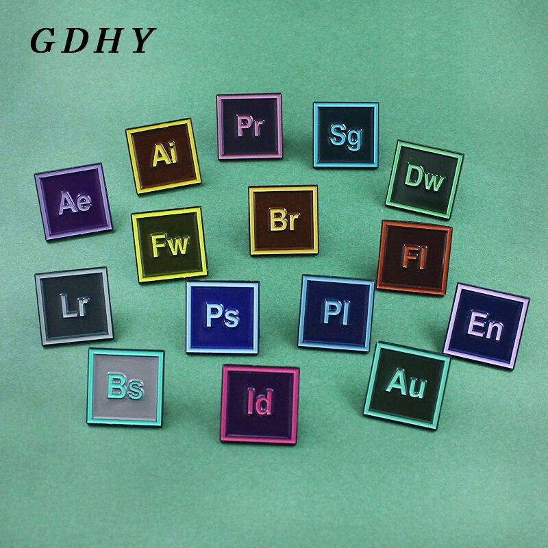 GDHY PS AI Pr Au Sg, Pin esmaltado, Software de diseño, aplicación de pintura, broche, icono de solapa, pines, Software de joyería, 15 estilos