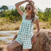plaid print new pants suit women summer square collar ruffled backless tops elastic waist shorts female beach holiday sets