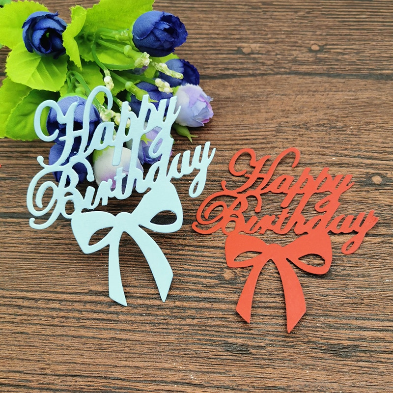 aliexpress.com - AOKEDIY Happy birthday with bow Metal Cutting Dies Stencil Scrapbooking Photo Album Card Paper Embossing Craft DIY Die Cut