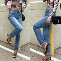cowgirl wide leg pants casual blue high waist single breasted straight denim trousers womens irregular fashion slim loose jeans