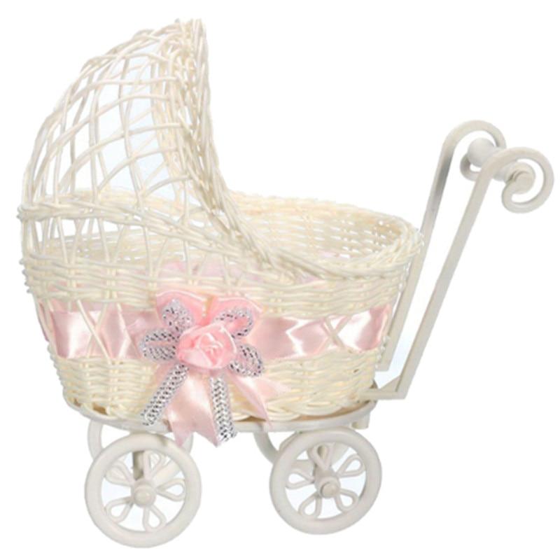 Cesta de mimbre de moda novedosa, cesta para cochecito de bebé, florero, organizador de almacenamiento, regalo de fiesta de cumpleaños, decoración del hogar, envío gratis