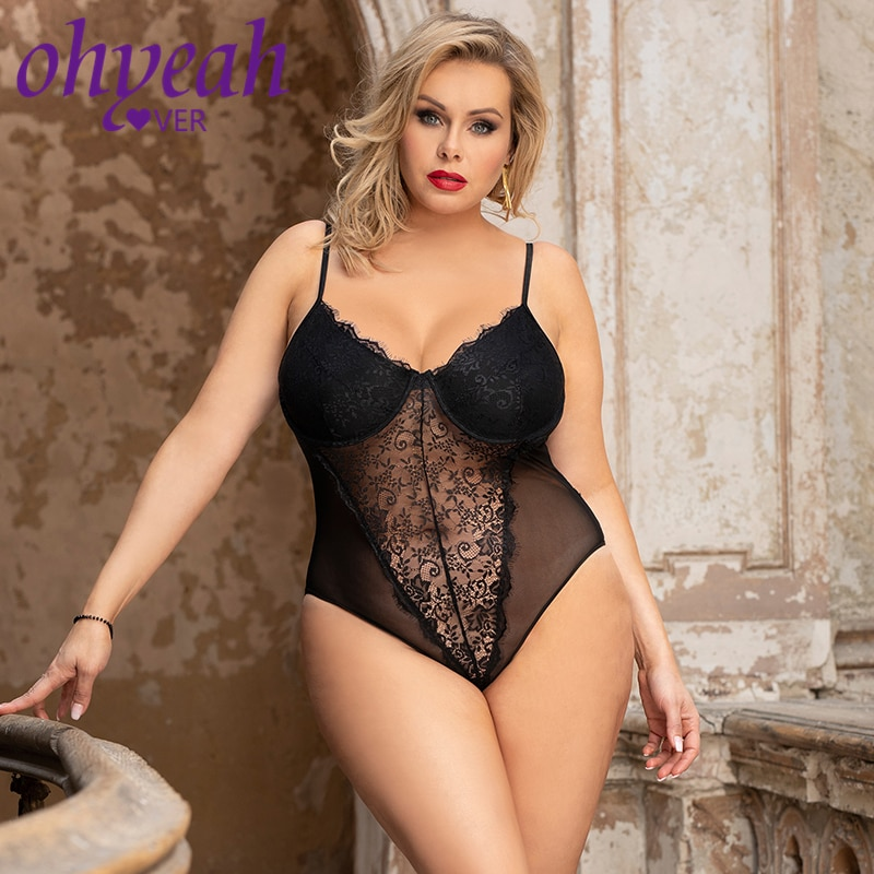 Ohyeahlover Sexy Body Femme Outfit Women Black Bodysuit Transparent Lace Splicing Teddy With Underwi