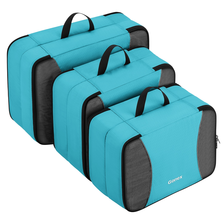 Gonex 3 حزم طبقة مزدوجة مكعبات التعبئة للسفر ، تنفس شبكة خزانة ملابس حقيبة الأمتعة حقيبة منظم مجموعة