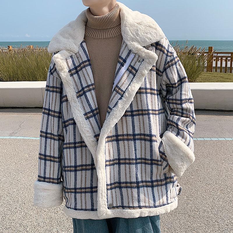 Клетчатое пальто из овечьей шерсти мужской хлопок зимний тренд мягкий восковой Ретро толстый свободный для влюбленных