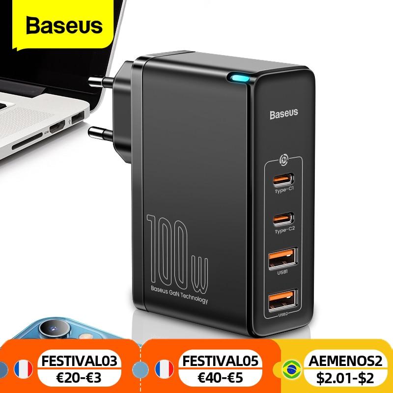 شاحن Baseus ، شحن سريع 100W GaN USB C, يدعم شحن 4.0 QC 3.0 Type C PD ، مناسب لهواتف iPhone 12 Samsung Xiaomi Macbook
