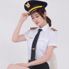 جديد وصول النساء الكابتن قمصان موحدة مجموعة يتأهل سترات أزياء العلامة التجارية الإناث الطيار أبلى الأبيض قميص الدعاوى