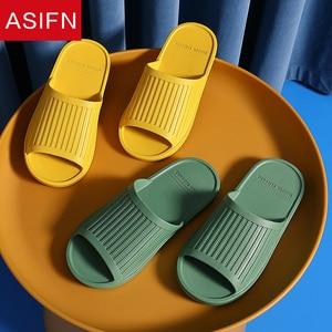 ASIFN Summer New House Women's Slippers Ladies Soft Bottoms Non-slip Indoor Slides Comfortable Slides Simple Platform Flat Shoes