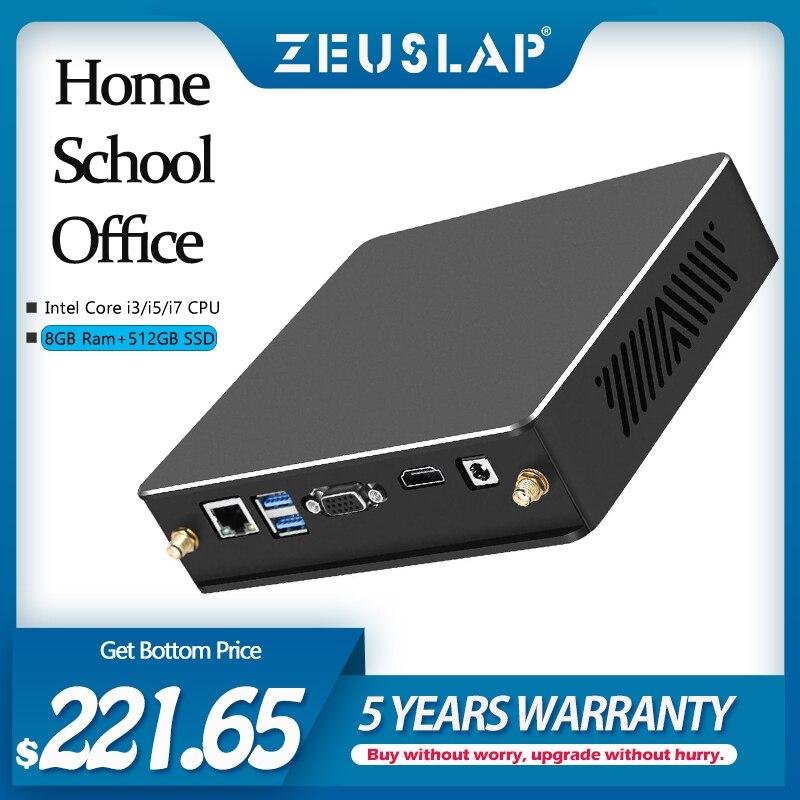 ZEUSLAP Mini PC intel core i3 i5 i7 CPU 8GB RAM 512GB SSD 2.4G 5G Dual Bank Wifi Bluetooth 4.0 Gigabit Ethernet Card Desktop PC
