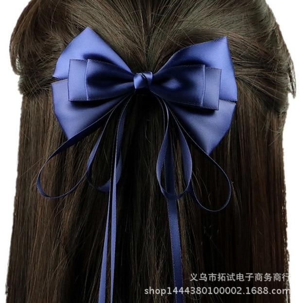 Korean version of handmade headdress original fairy ribbon hairpin sapphire bow elegant lady head clip Women Barrettes HDJ001