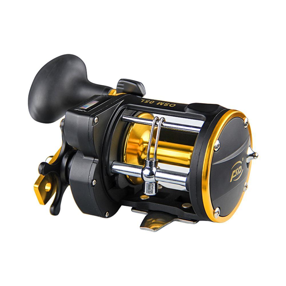 Equipo de pesca al aire libre HobbyLane 6 a 1 carrete de pesca 3BB mano derecha y cuentametros carrete multiplicador de tambor con alarma