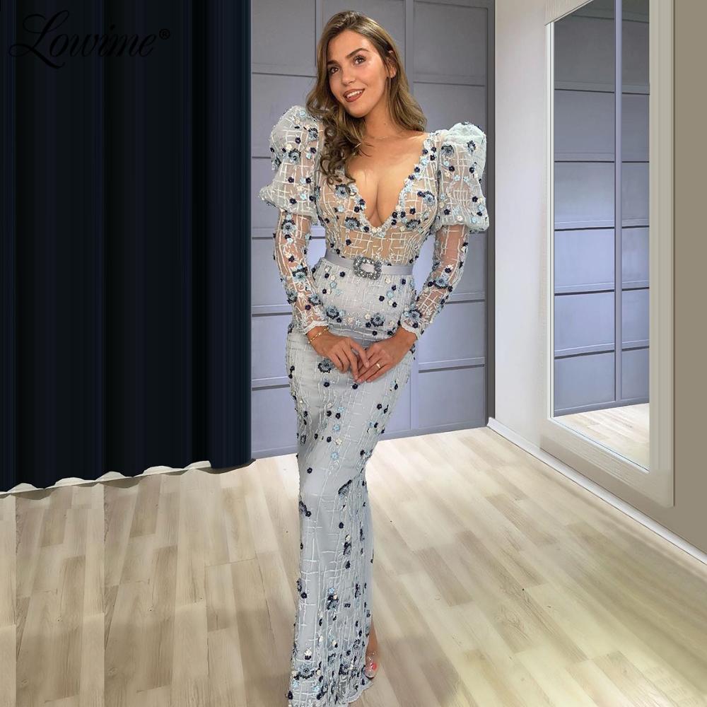 فستان سهرة مثير على شكل حورية البحر ، ياقة على شكل V ، أزرق ، للنساء ، ثوب كرة ، موديل جديد ، 2020