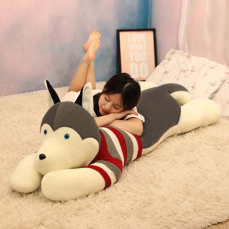 Boyfriend Pillow Husky Dog Cartoon Body Pillow Funny Super Soft Cute Animal Plush Toy Long Pillows for Pregnant Sleep Cushion