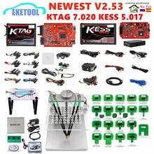 La UE rojo KESS V2.53 5.017 KTAG V2.25 7.020 versión en línea marco LED BDM sonda 22 Uds KESS 2,53 KTAG 4LED programador ECU